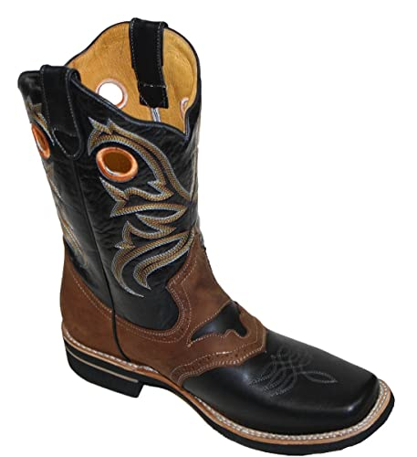 f2a2ce58059 Men Cowboy Genuine Cowhide Leather Square Toe Rodeo Western Boots
