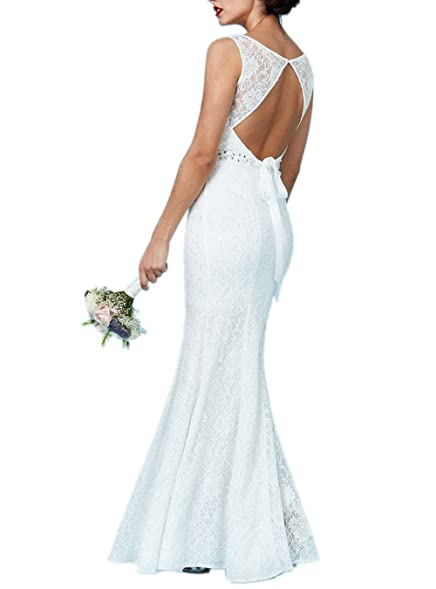 Ssyiz Custom Women\'s Vintage Floral Lace Open Back Maxi Wedding ...