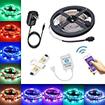 Led strip lights 16.4ft/5m Non-Waterproof LED Lights Kit 5050 RGB Rope Lights With Bluetooth Smartphone APP Controller & 12V 3A Power Supply for ios and Android System from TOPMAX