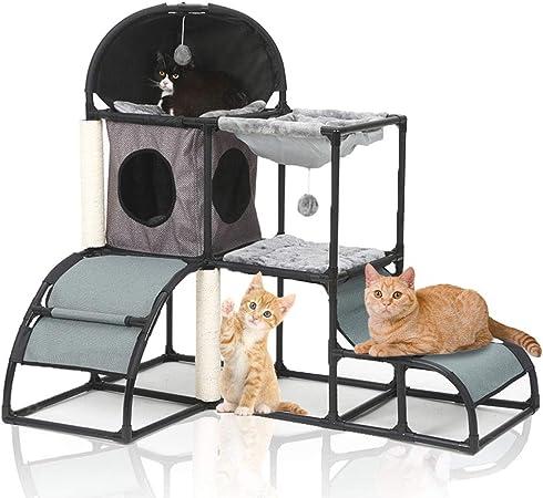 LBLA Árbol para Gato, Árbol Rascador Escalador para Gatos,Nuevo Cuadro de Escalada Multifuncional para Gatos 5 en 1, Gris