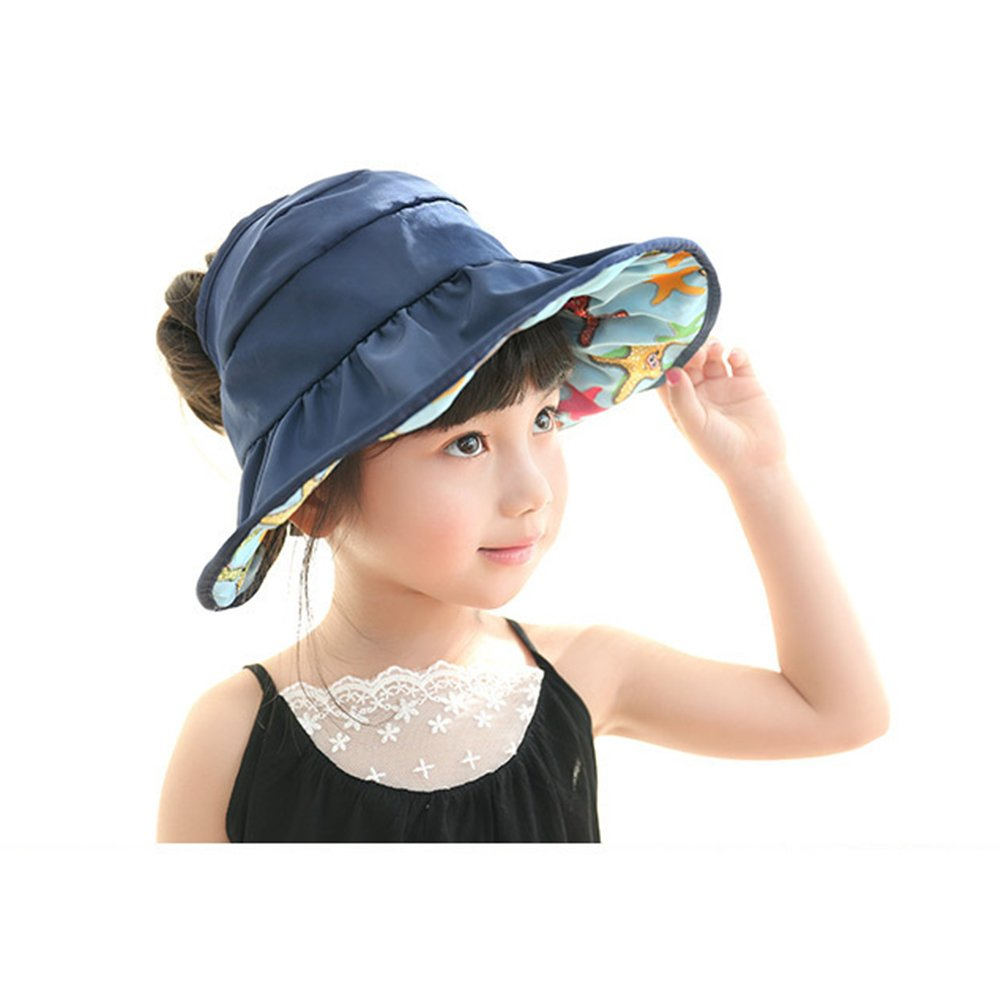 Children Wide Brim Sun Hat - Girls UV Protection Quick Dry Breathable  Waterproof Beach Cap - Foldable Reversible Kids Visor Hats (Blue)   Amazon.co.uk  ... 9c60364a01ae