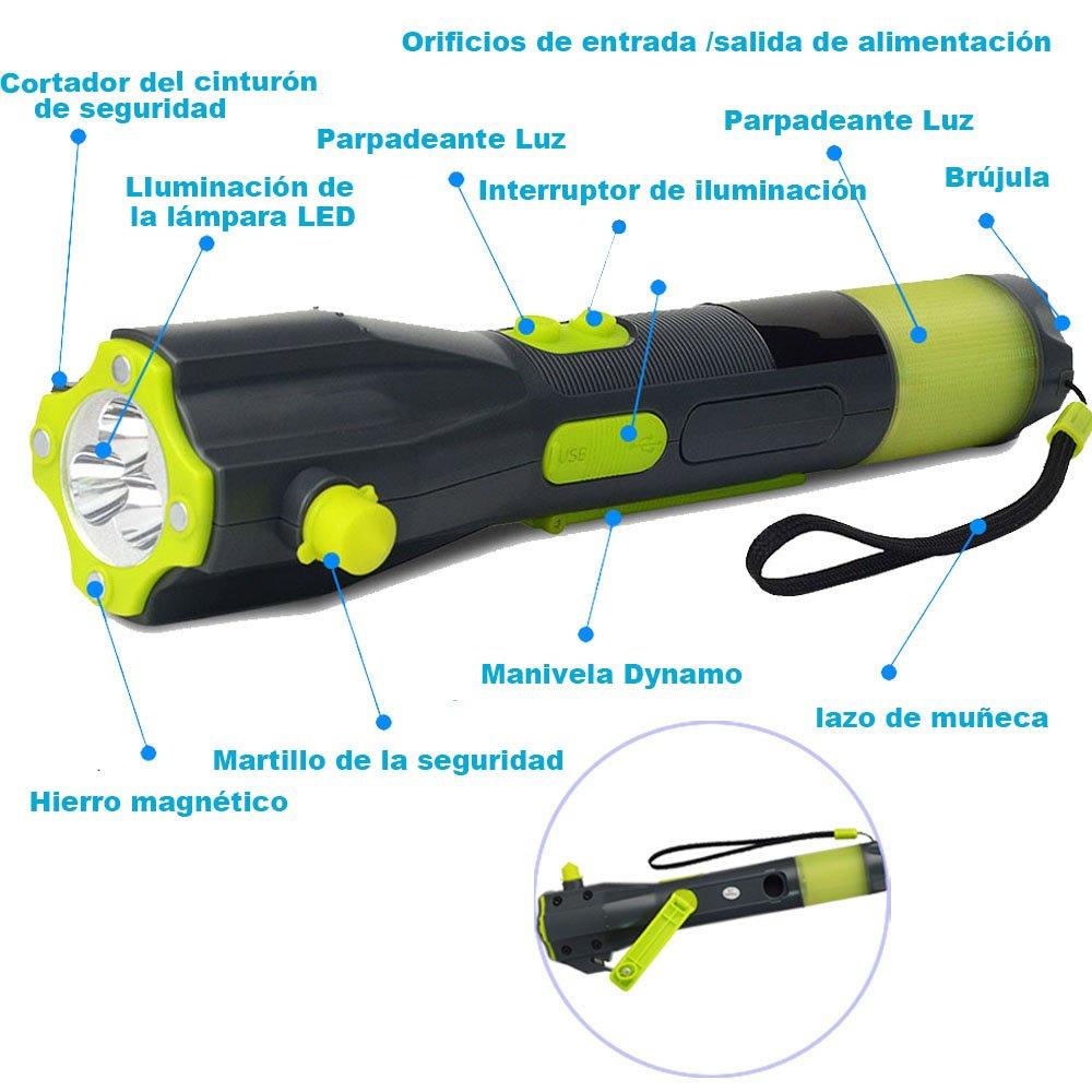 BESTEK Multifuncional martillo emergencia/salvamento de coche,,cortador de cinturón de seguridad, cuchillo de rescate, brújula digital con linterna LED de ...