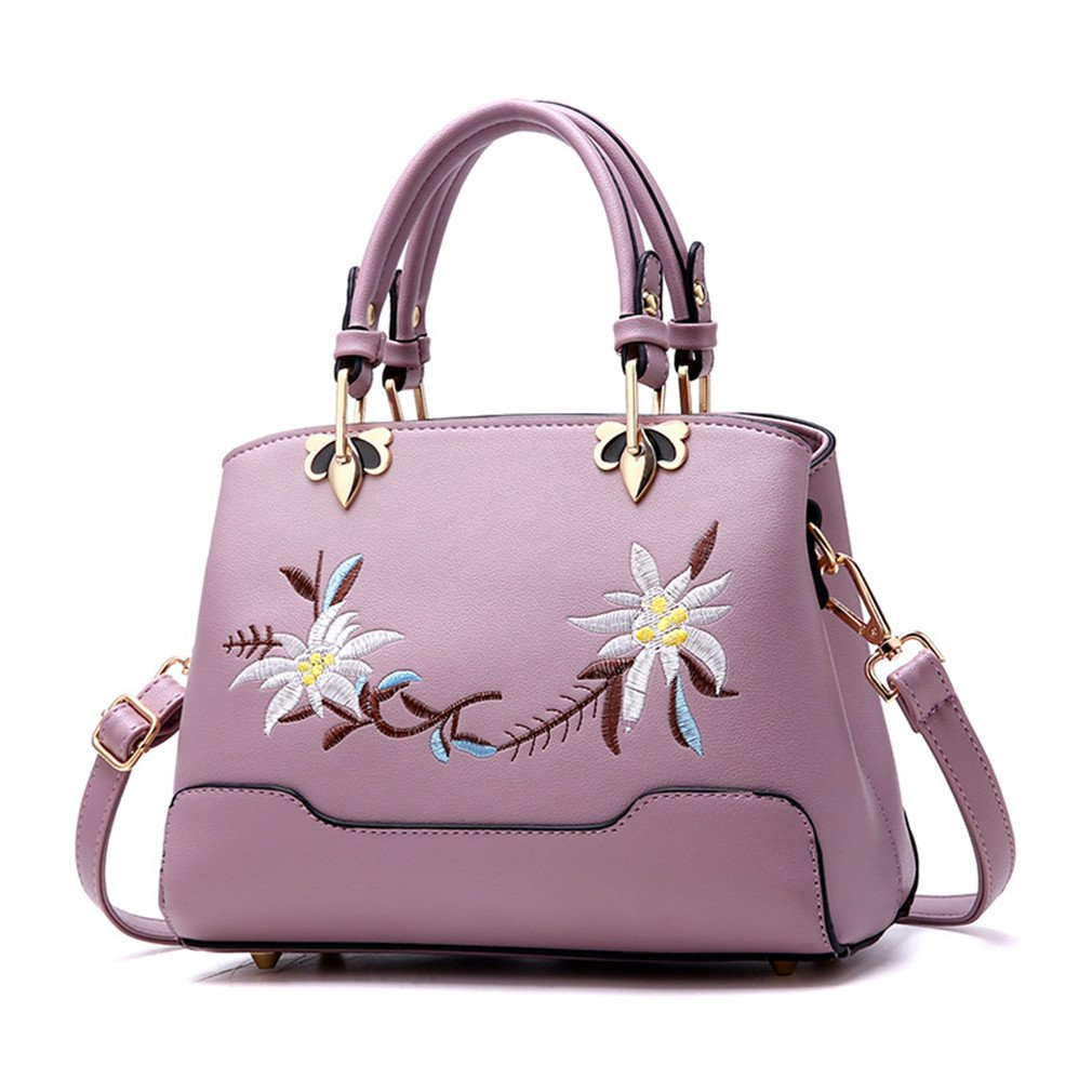Chic-Dona Retro Women's Handbags Zipper Gardenia Embroidery Flower Bags Ladies Evening Bag Colorful Shoulder Messenger Bags purple 26cmX9cmX19cm
