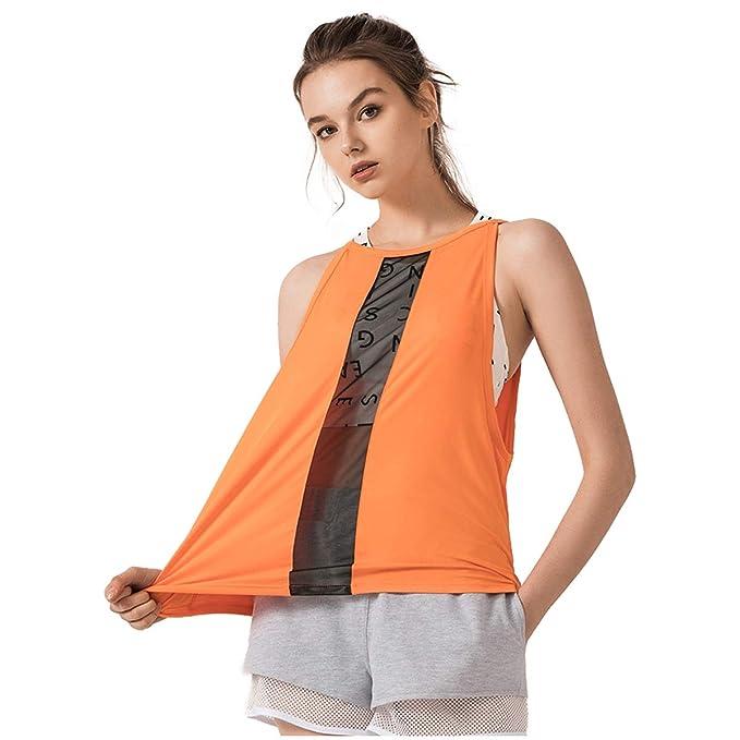 423cb321216 Amazon.com: GEMLON Women Yoga Shirts Mesh Workout Vest Spring Summer ...