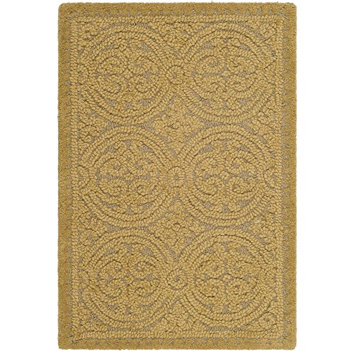Safavieh Cambridge Collection CAM233A Handcrafted Moroccan Geometric Light Gold and Dark Gold Premium Wool Area Rug (2' x 3')
