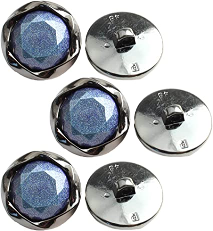 Pearly blue round vintage buttons with shank