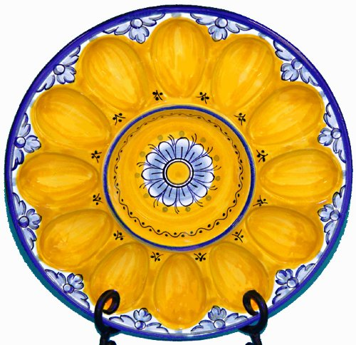 Ceramic Deviled Egg Plate from Spain. Fiesta Yellow Pattern
