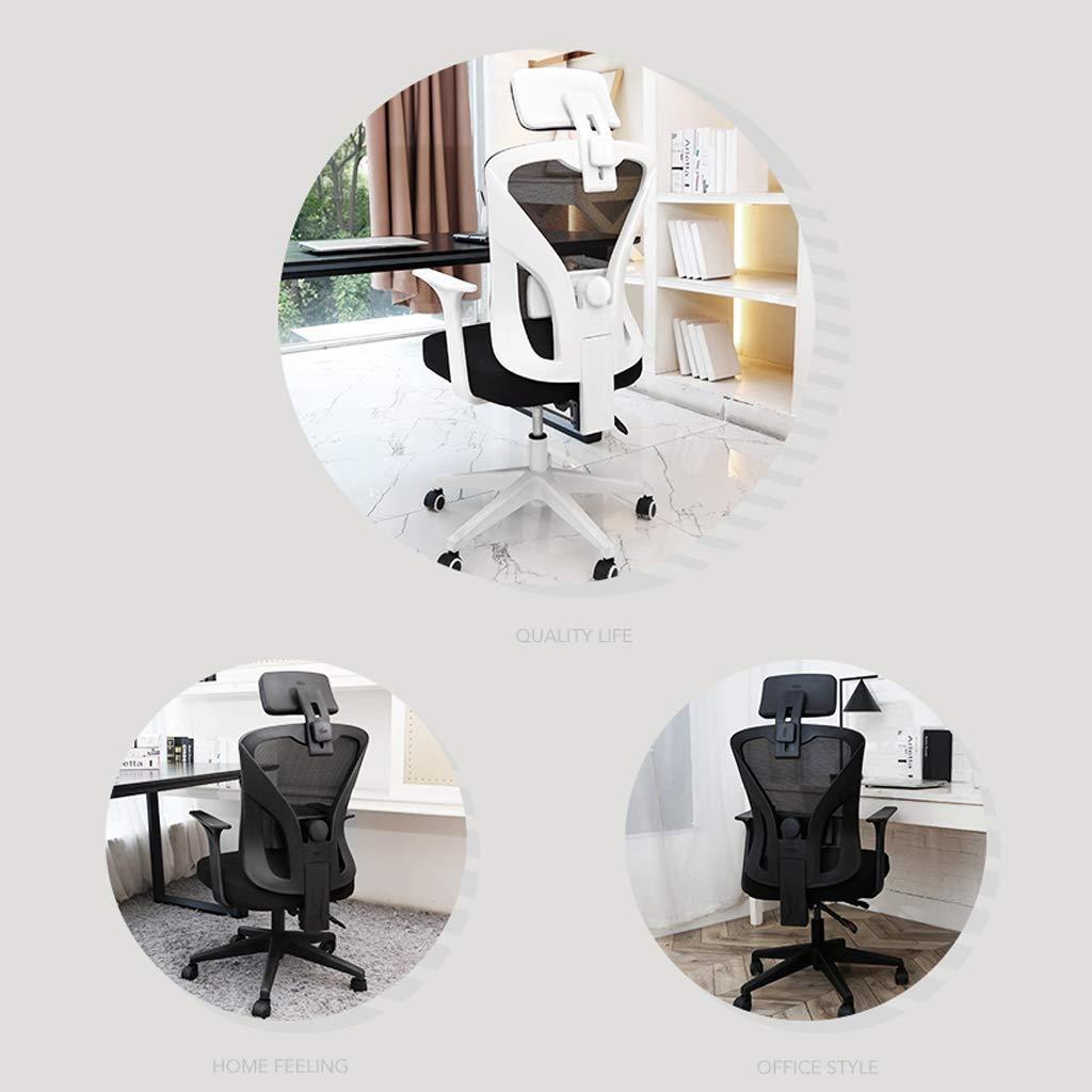 Kontorsstol, hög rygg stort säte och ergonomisk svängbar stol liggande dator skrivbordsstol andningsbar mesh R10 Vitt Svart