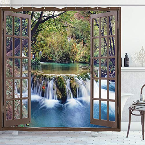 Ambesonne Waterfall Shower Curtain, Wide Waterfall Deep Down in The Forest Seen from a City Window Epic Surreal Print, Cloth Fabric Bathroom Decor Set with Hooks, 70 Long, Forest Green