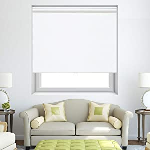 Persilux Cordless Window Blinds Blackout Roller Shades, Light Filtering UV Protection Energy Saving for Home and Office, Easy to Install (35''W x 72''H, White)