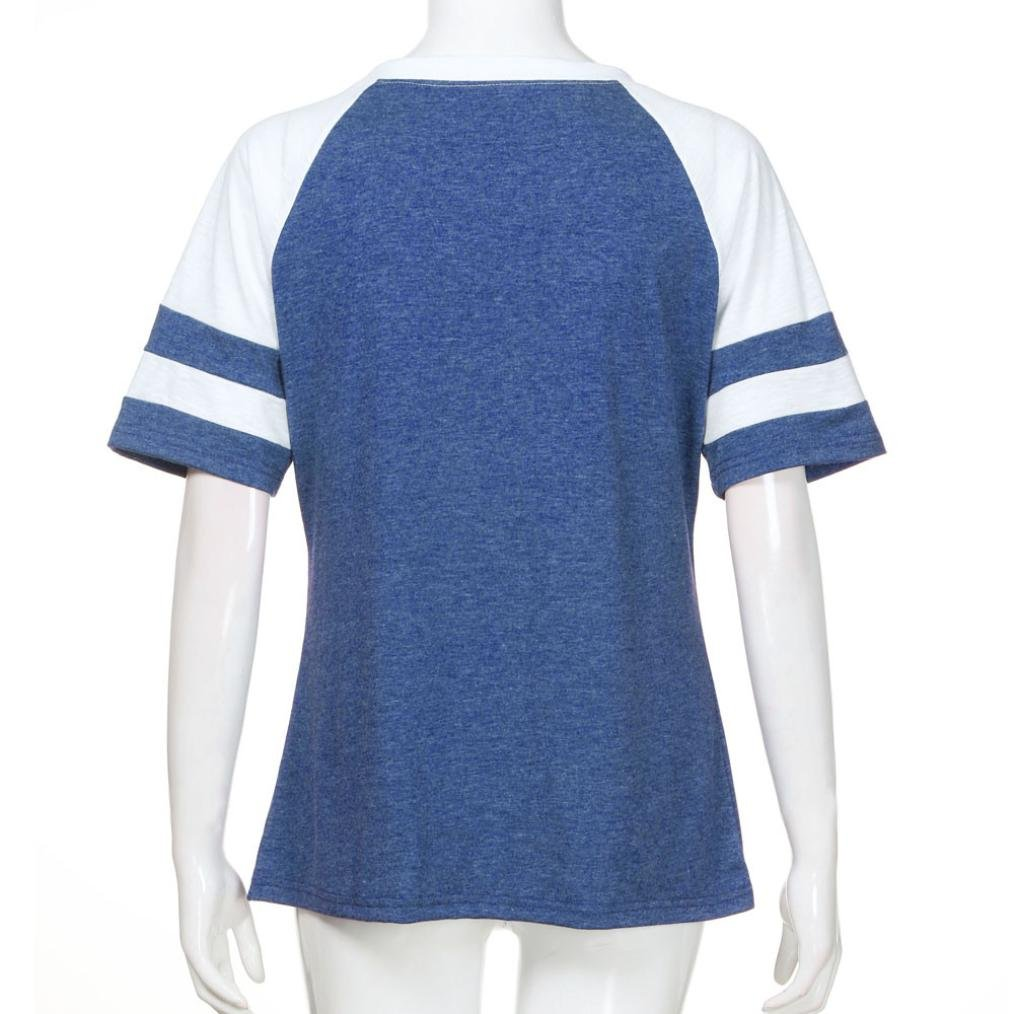 Syban T Shirt Fashion Women Ladies Short Sleeve Splice Blouse Tops Clothes (EU-36/CN-M, Blue) by Syban (Image #5)