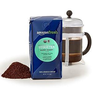 AmazonFresh Organic Fair Trade Sumatra Ground Coffee, Dark Roast, 12 Ounce (Pack of 3)