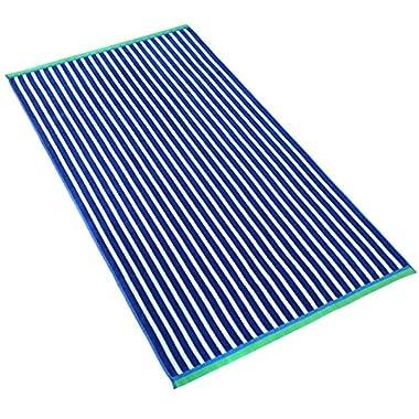 Oversized Stripe Velour Beach Towel (104190) (Royal Blue)