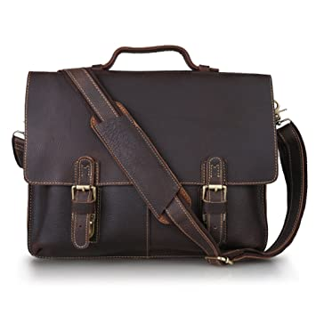 Amazon.com: Kattee Leather Twin Buckle Men's Messenger Bag, Dark ...