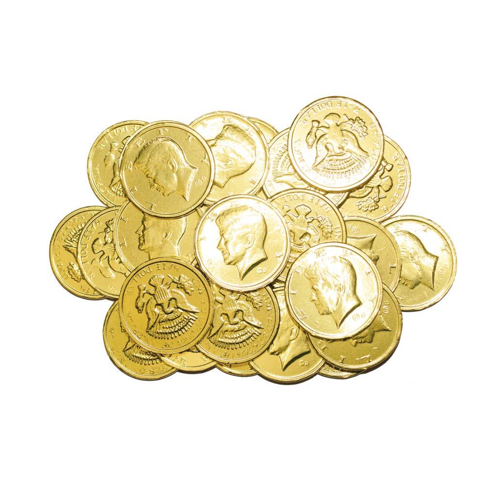 R.M. Palmer Milk Chocolate Gold Coin Half Dollars, Bulk Bag, Fun Sized, Treats, Candy, and Snacks (2 lb) by PALMER