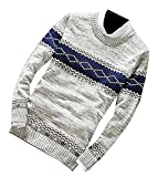 Shining4U Fashion Men's Casual Knit Print Scoop Neck Slim Fit Pullover Sweaters Light GrayUS X-Small