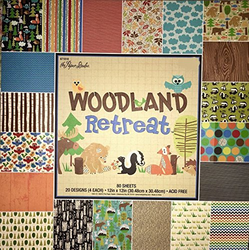 Woodland Retreat 12x12 Scrapbooking Paper Pack, Fox, Moose, Bear, Skunk, Owl, Trees etc. 80 (Baby Boy 12x12 Album)