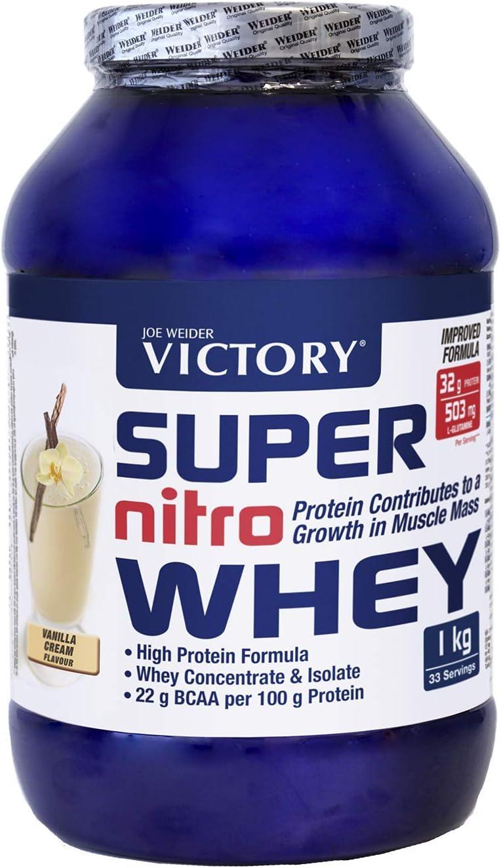 Victory Super Nitro Whey Vainilla (1 kg). Concentrado y aislado de suero. fuente proteica rica en BCAAs. Recuperación muscular. Con L-Glutamina, ...