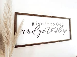 Tamengi Give It to God and Go to Sleep Sign, Farmhouse Sign, Ready to Ship, Bedroom Signs, Over The Bed Signs, Modern Farmhouse Wall Decor 6
