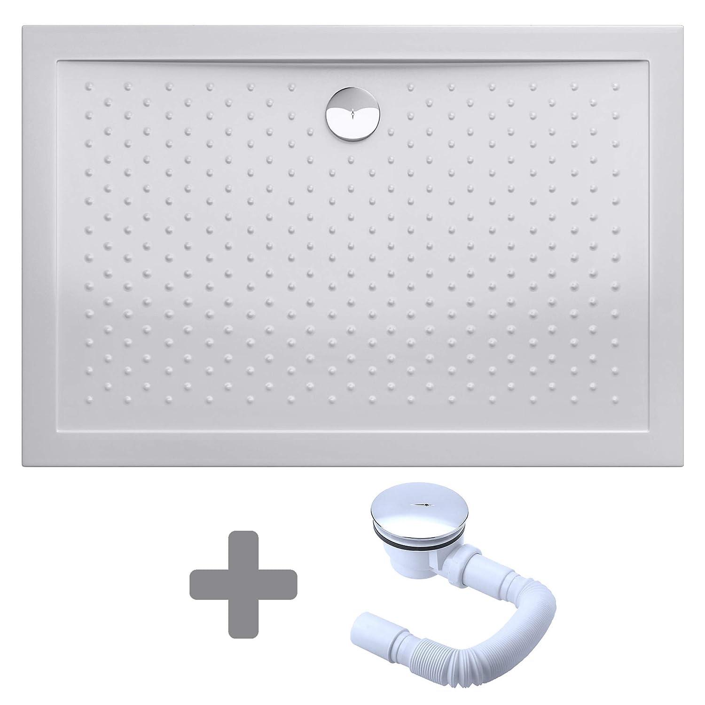 Mai /& Mai receveur de douche anti glisse bac /à douche blanc 80x110x4cm rectangulaire Lucia//Faro AR avec bonde AL02