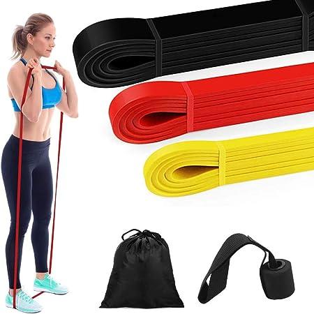 Bandas Elásticas Fitness - Bandas elásticas de Ejercicios de Fitness, para Entrenamiento de Resistencia, Gimnasio, Yoga, Pilates Anclaje para Puertas