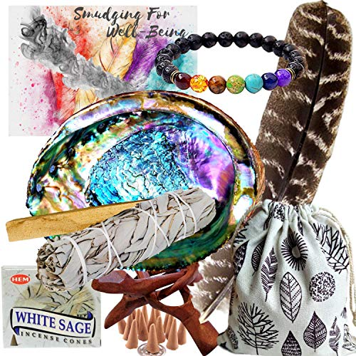 (Smudge Kit Spiritual Set - Large Abalone Shell, Wood Stand, White Sage Smudging Stick, Sage Incense Cones, Smudging Feather, 7 Stone Chakra Bracelet (Unisex), Complete Starter Set and Positive Vibes)