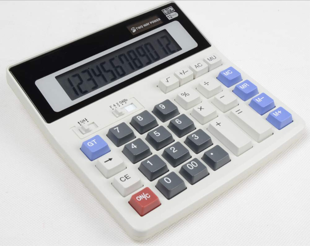 CalculatorDual Power Calculator Plastic Button 12 Digits Dual Power Large Screen Display Office Finance