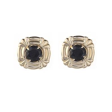 0c195ea2a 9ct Yellow Gold Black Sapphire Celtic Cross Andralok stud earrings / Gift  box: Amazon.co.uk: Jewellery