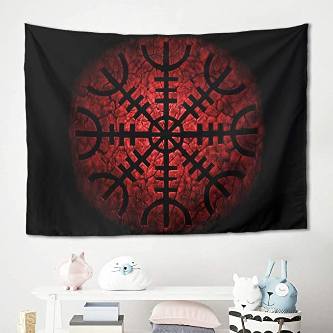 Firelife Wikinger Odin Runen Wandteppich Wandbehang Tuch Wandtuch Tapestry Wall Hanging Tapisserie Wanddeko Für Schlafzimmer Wohnzimmer Strandtücher Tischdecke Küche Haushalt