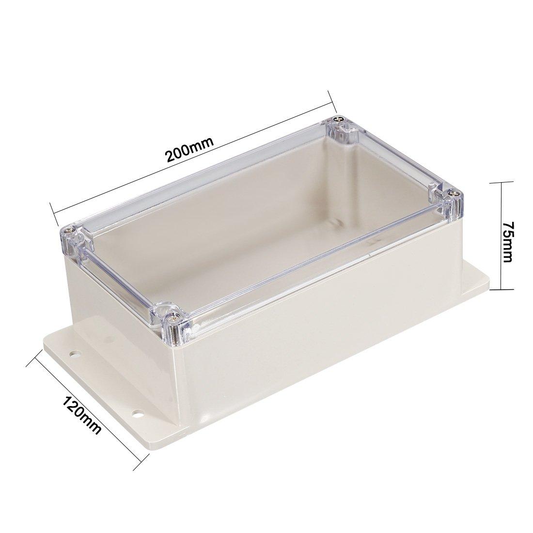 Sourcingmap 200/x 120/x 75/mm//20/x 12/x 7,5/cm Angle de rayonnement /électronique 120/Plastique ABS DIY boite de jonction projet de bo/îte Coque ext/érieur//int/érieur avec housse clair