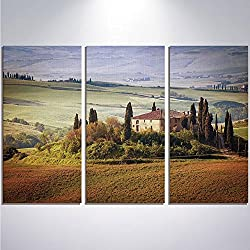 3 Pieces Modern Painting Canvas Prints Wall Art For Home Decoration Tuscan Print On Canvas Giclee Artwork For Wall DecorTuscany Seen From Stone Ancient Village of Montepulciano Italy in Cloudy Day-Gre