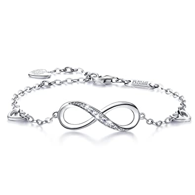 925 Argent fin Bracelet infini , Billie Bijoux damour sans fin Symbole  Bracelet réglable avec charme