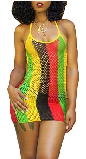 103f90a57db05 CBTLVSN Womens Fishnet Mesh Bikini Cover up Bodycon Mini Dress at ...