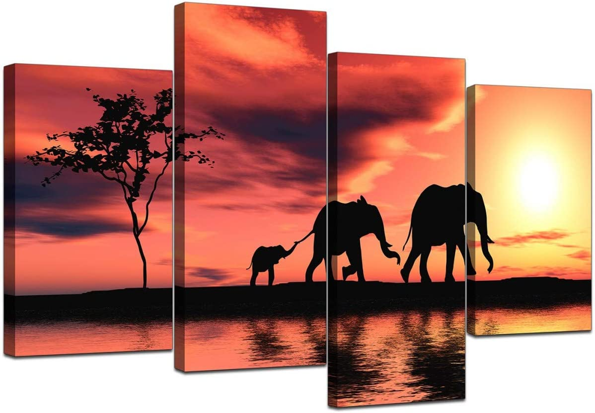 Large African Sunset Elephants Canvas Wall Art Pictures In Orange And Black Xl Big Modern Contemporary Artwork Multi Panel Split Canvases 130cm Wide Posters Prints