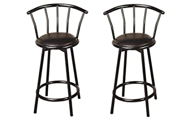 Prime Buckner 24 Metal Counter Stools With Faux Leather Swivel Seat Black Set Of 2 Theyellowbook Wood Chair Design Ideas Theyellowbookinfo