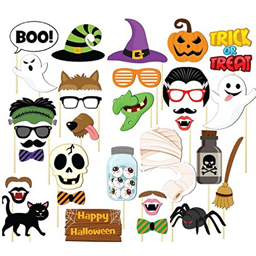 Dtzzou Halloween Photo Booth Props 35pcs Funny Photo Booth Props for Halloween Party Decorations -