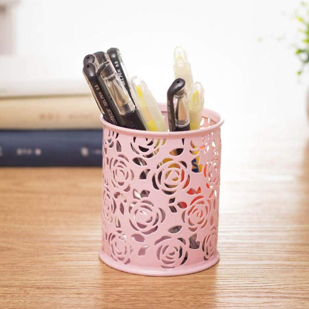Ogquaton Zylinder Stift Bleistift Topflappen Hohl Blumenmuster Muiti-Purpose Ablagekorb Schreibtisch Container Organizer Pink Robust und kosteng/ünstig