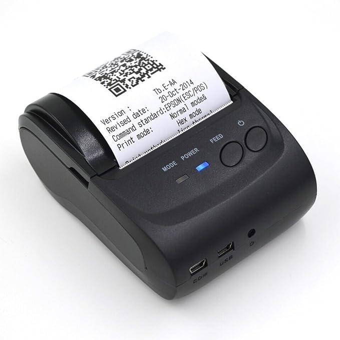 egomall 58 mm Mini Impresora térmica portátil de recepción de la ...