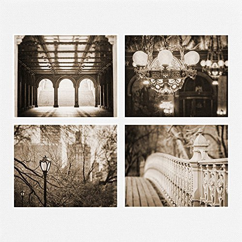 New York City and Pennsylvania Sepia Wall Art Photograph Set of - Nyc Menu Frame