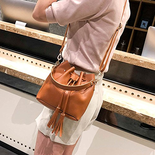 Bucket Leather Drawstring Small Brown Tassel Crossbody Handbag PU wildlead Messenger Bag Bags Women Bwz6X5