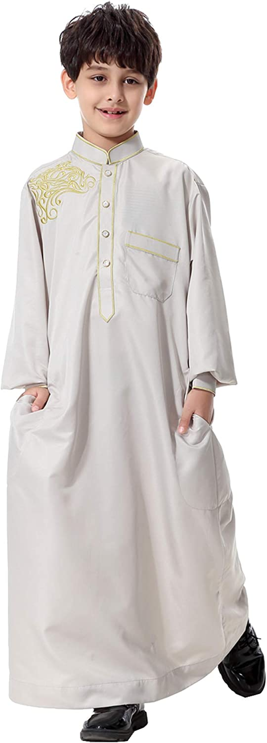 GladThink Boys Muslim Embroidery Thobe Long Sleeves Mandarin Neck
