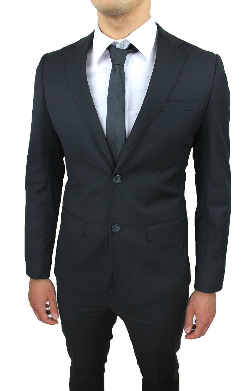Traje completo de hombre de confección, negro, slim fit ...
