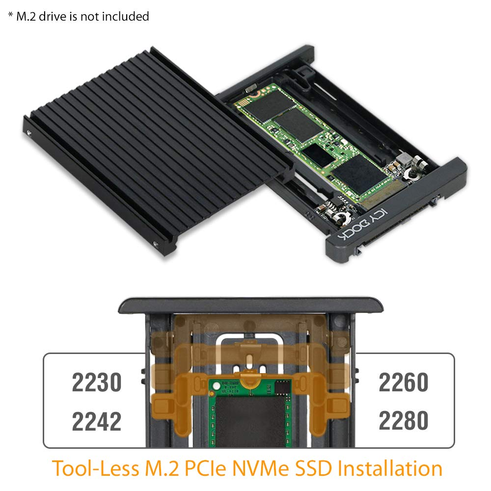 Icy Dock (sin Herramientas) M.2 Pcie Nvme Ssd A 2.5 U.2 (sff-8639) Adaptador Convertidor Ssd Pcie - Ezconvert Mb705m2p-b