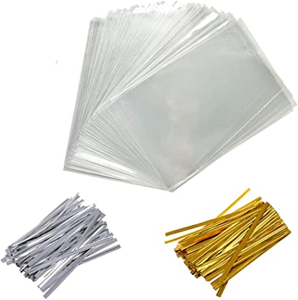 3/×11 Clear Candy Bags Thickness OPP Plastic Bags for Wedding Cookie Birthday Cake Pops Gift Candy Buffet Supplies 200 Pack Clear Treat Bags Clear Bakery Bags with 4 Twist Ties 6 Mix Colors