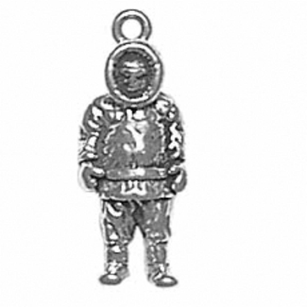 Sterling Silver Charm Bracelet Attached 3D Standing Artic Explorer Eskimo Charm