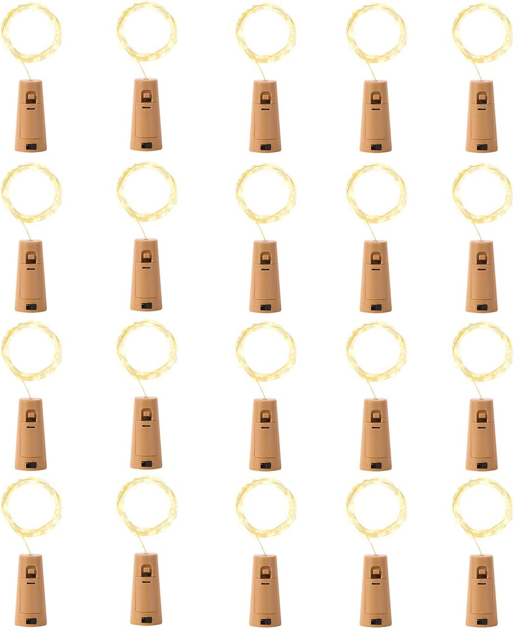 LEDIKON Upgraded 20 Pack 20 LED Wine Bottle Lights with Cork,3.3Ft Silver Wire Warm White Cork Fairy Lights Battery Operated Mini String Lights for Wedding Party Wine Liquor Bottles Crafts Bar Decor
