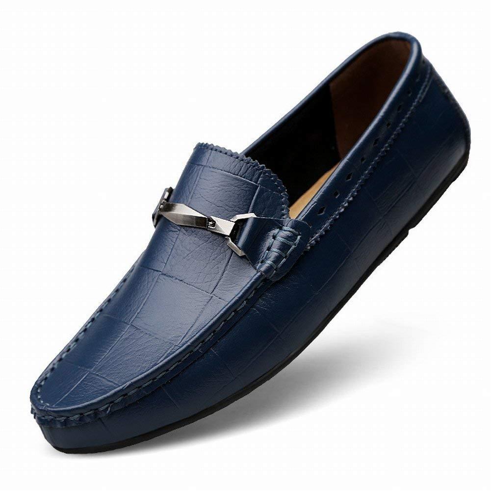 5fe3904f5d0b9e Fuxitoggo Britische Mode Peas Schuhe Leder Freizeitschuhe Rutschfeste Füße  Faule Herrenschuhe (Farbe Schuhe Blau