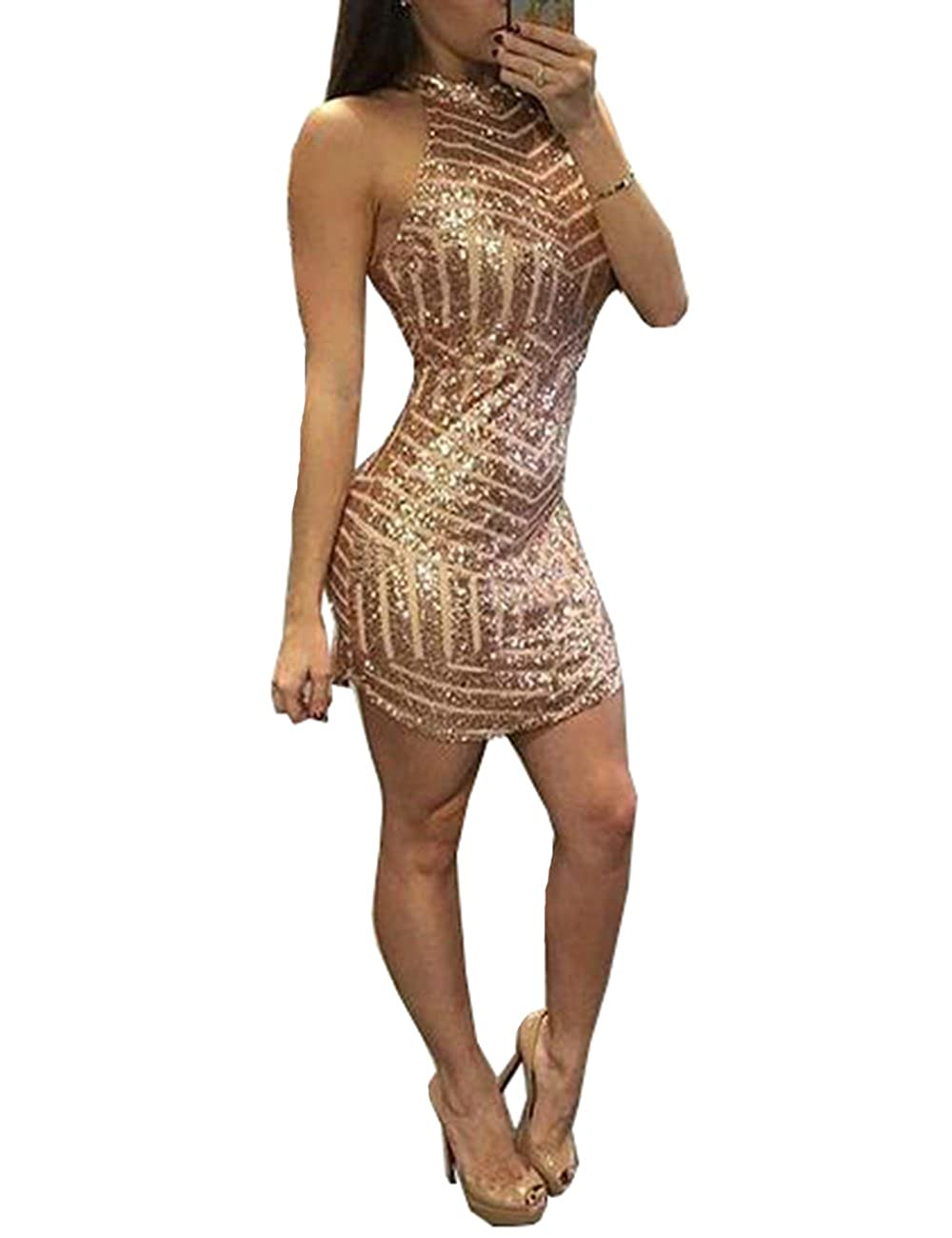 Beautydress Rose Gold Sequins Halter Sheath Homecoming Cocktail Dress BP128