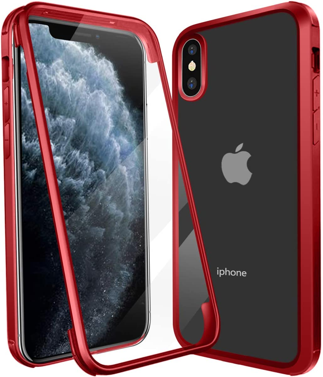 Case for iPhone XR, Built-in Screen Protector, Double Sided Tempered Glass, Rugged Bumper Frame, Support Wireless Charge Ultra Thin 360° Protection Shockproof Clear Case for Apple iPhone XR