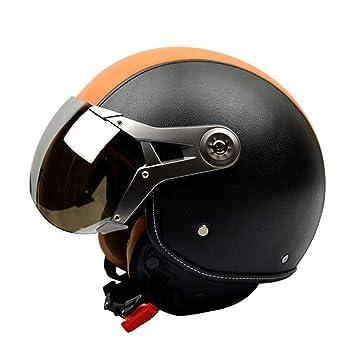 Casco De Cara Abierta De Moto Flip Up Doble Gafas Casco De Moto De Estilo Vintage